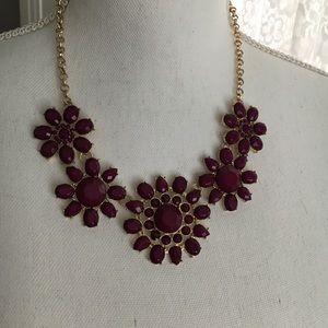 Francesca's Dark Purple Flower Statement Necklace